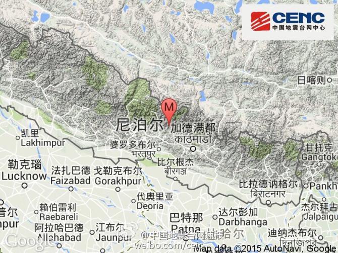 04月25日14时11分在尼泊尔(北纬28.2度,东经84.7度)发生8.1级地震,震源深度20千米