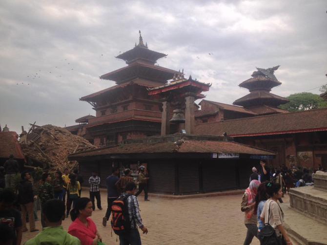 尼泊尔首都加德满都倒塌的房屋
